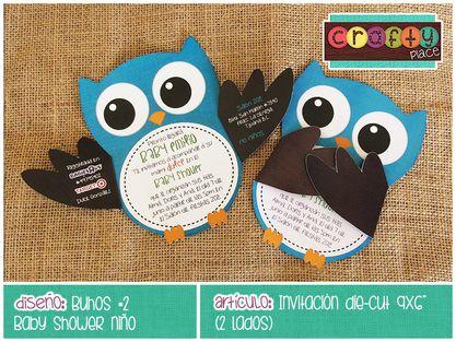 Invitación die-cut de Buhos - Baby shower niño… Podemos personalizarla con cualquier tema! • Owls die-cut invitation - Boy baby shower... We can personalize it with any party theme!