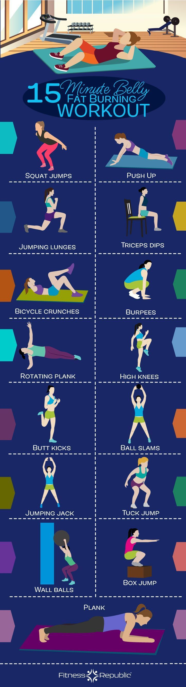 15-Minute Belly Fat Burning Workout | Fitness Republic #FatBurningFoods