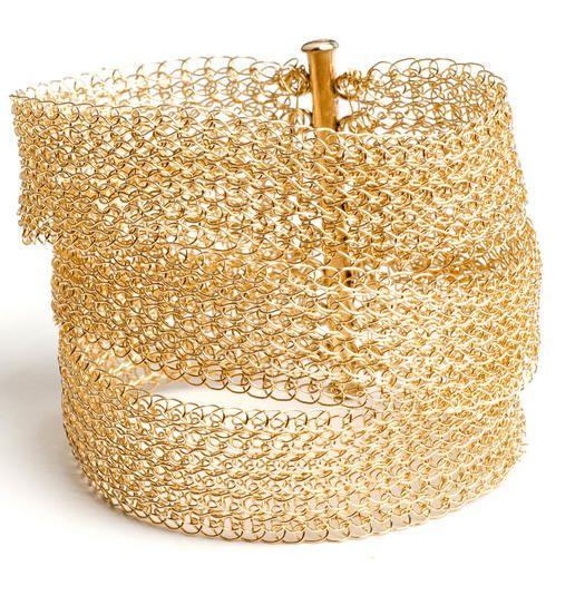 Gold Layered Bracelet Cuff , Wire Crochet Bridal Cuff - Jewelry creation by Drorar