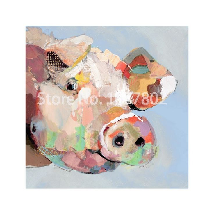 Decorative Handmade Modern Animal Lovely Pig Abstract Oil Painting Printed Canvas Animal Pictures on Living Room Wall Art-in Painting & Calligraphy from Home & Garden on Aliexpress.com | Alibaba Group $26.57 sale 70cm square