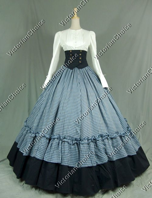 Civil War Victorian Viscose Cotton Ball Gown Dress Reenactment Clothing