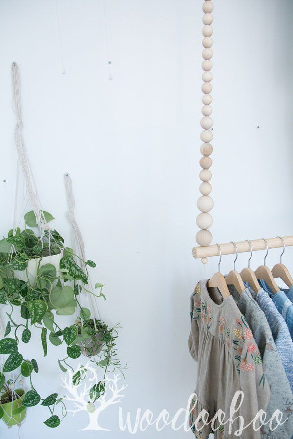 Beaded Clothes Hanger Clothing Rack For Kids And Baby Wooden
