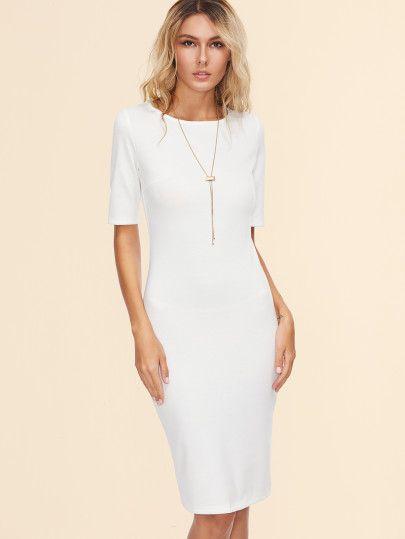Vestido de tubo con abertura en espalda - blanco