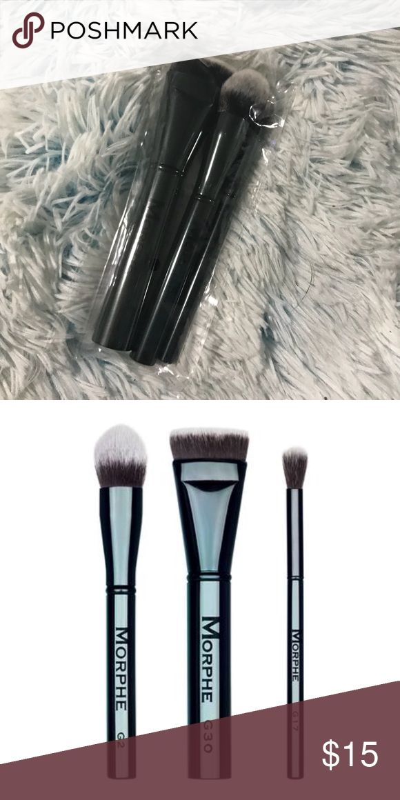 """Morphe """"contour crew"""" brush trio This trio of professional brushes features ultra-soft bristles and chic, limited-edition handles you can't get anywhere else. Not to mention, they'll help you define, buff, and blend out while on-the-go.  COLLECTION INCLUDES:  G30 Flat Contour Brush G2 Pointed Buffer Brush G17 Round Blender Brush morphe Makeup Brushes & Tools #contouringmakeup"""