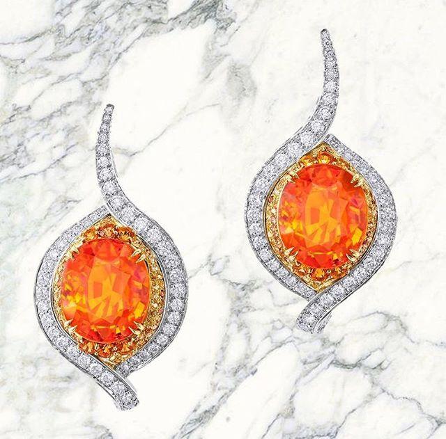 Anna Hu Perfect color to go with my new Modern Art Deco collection! #mandaringarnet #garnet #annahuhautejoaillerie