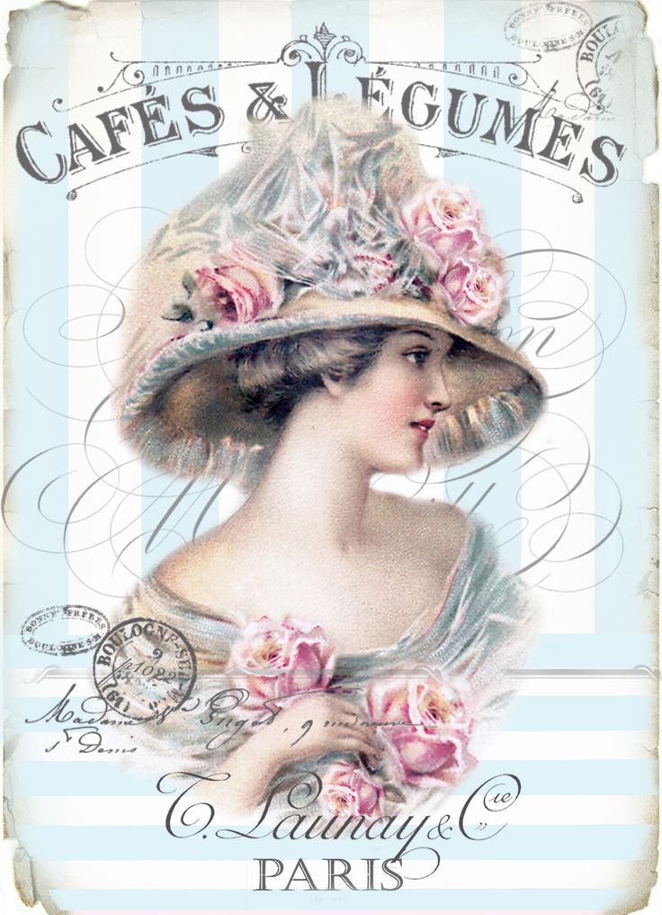 Vintage woman cafe ad blue stripes Digital collage P1022 FREE