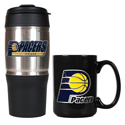 NBA Indiana Pacers Heavy Duty Travel Tumbler and Ceramic Mug Set SilverBlack 1815Ounce * Details can be found by clicking on the image.