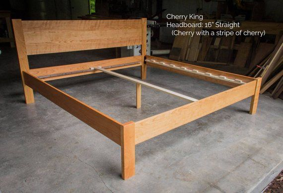 Cherry Simple Bed Platform Bed Frame Straight Headboard