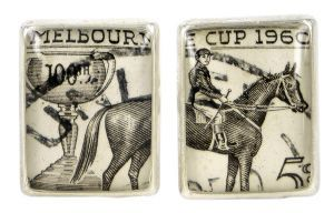 Melbourne Cup 1960 silver plate and re-purposed stamp cufflinks