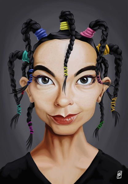 'Celebrity Sunday - Björk' by rob-art on artflakes.com as poster or art print $14.38 art   decor   wall art   inspiration   caricatures   home decor   idea   humor   gifts