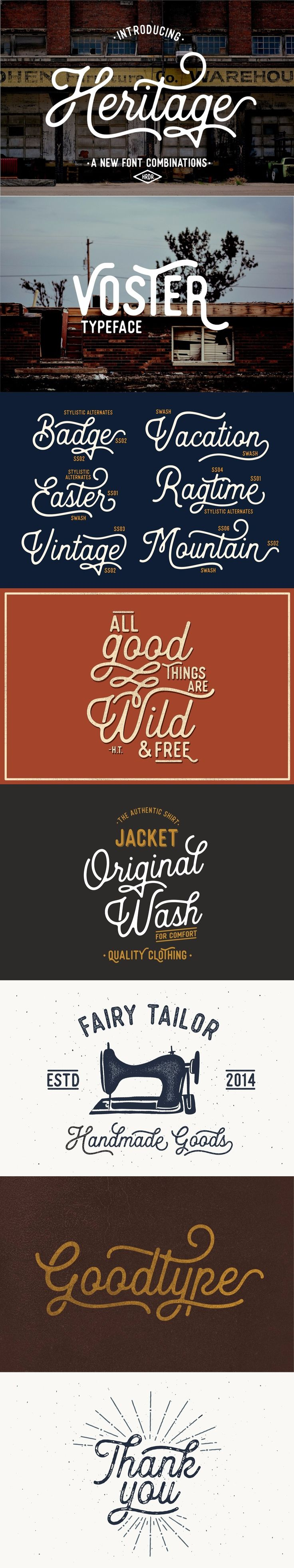 Heritage Font Combinations by HRDR - Proudly presents our latest product 'Heritage Font and voster font! both of these font consist with 2 different style 'script and sans' . These two lovely fonts would be perfect to combine in your design. with vintage style. The fonts are great for product logo,wedding card logo, clothing brand logo,Vintage design and much more.
