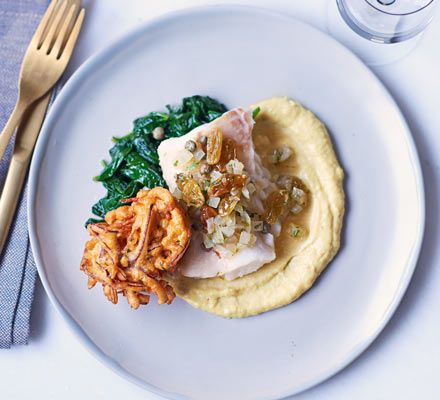 One of Phil Howard's menu highlights, this dish is a mix of spices, flavours and textures. Try this delicate cod with crispy bhajis and creamy cauliflower