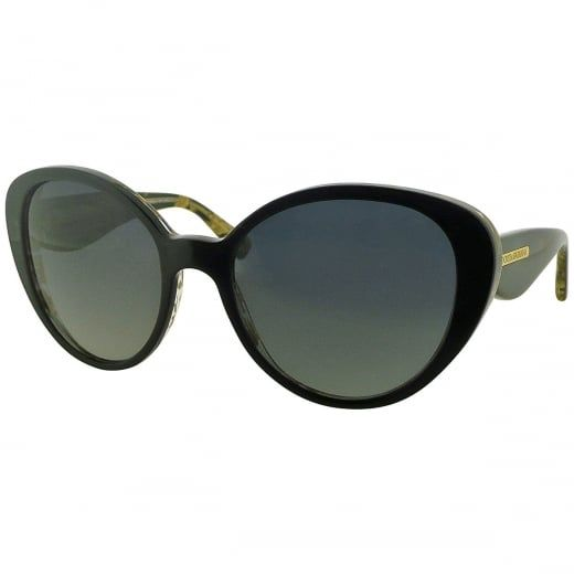 9fc057d169f Ex-Display Dolce   Gabbana Ladies Gold Leaf Black Butterfly Polarised  Sunglasses with Gradient Lens