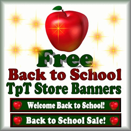 Free Back to School and Back to School Sale Banners for your TpT Store.  Follow my store to receive free seasonal banners!