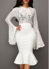 Lace Panel Long Sleeve Top and Black Skirt | Rosewe.com - USD $36.43