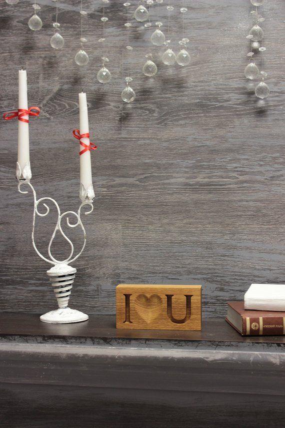 Wood block I love you Desk or shelf decoration Valentines day gift for boyfriend Oak wood home decor