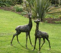 Two Extra Large Deer Set of Metal Garden Ornaments