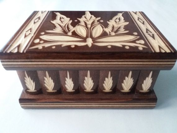 Regalo nuevo marrón de madera rompecabezas hermoso Caja joyero de San Valentín, magia caja de, caja misteriosa, caja de la baratija difícil secreto, compartimiento secreto, regalo