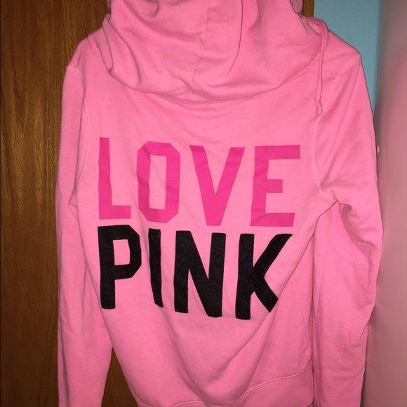 PINK hot pink zip up hoodie VS PINK hot pink zip up hoodie. Size large & in good condition! PINK Victoria's Secret Tops Sweatshirts & Hoodies