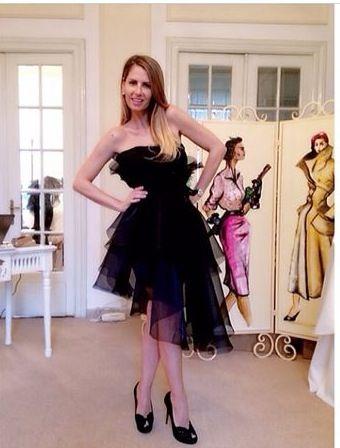 Andreea Banica fitting our asymmetric organza dress