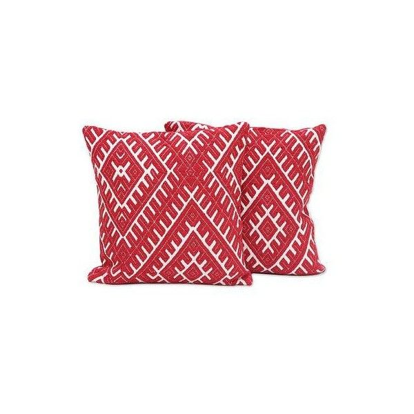 NOVICA Red and Ivory Cotton Blend Cushion Covers (Pair) (405 ZAR) ❤ liked on Polyvore featuring home, home decor, throw pillows, cushion covers, pillows & throws, red, twin pack, woven throw pillows, beige throw pillows and red toss pillows