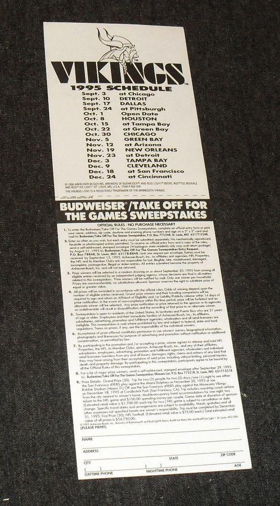 Rare Minnesota Vikings 1995 NFL Football Schedule Window Decal Sticker