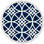 Southwestern Inspired With Border In Oxford Blue Round Beach Towel by Custom Home Fashions