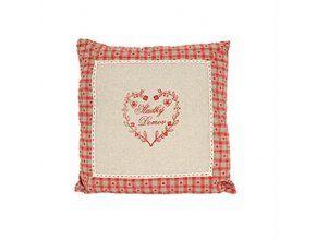 Polštářek 40 x 40 cm Sladký domov - dekor vyšívané srdce červené