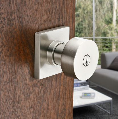 Emtek Round Keyed Entry Door Knob W/Square Rose Satin Nickel. Save Big With