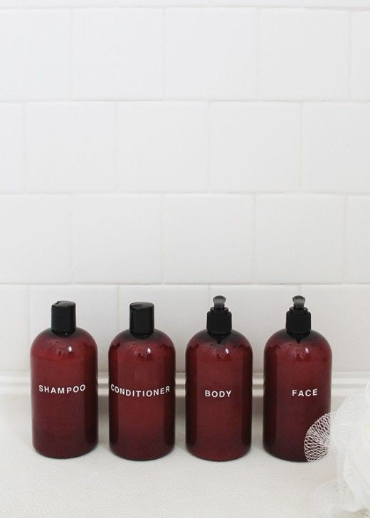 DIY pretty shampoo bottles, by Almost makes perfect
