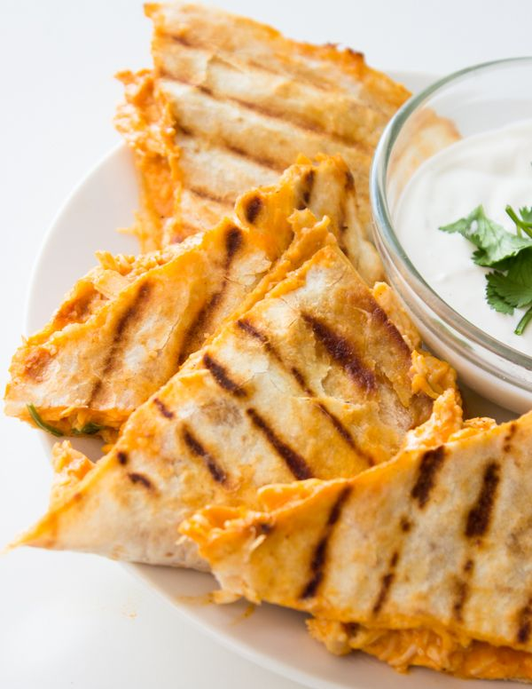 Lightened up Buffalo Chicken Quesadillas