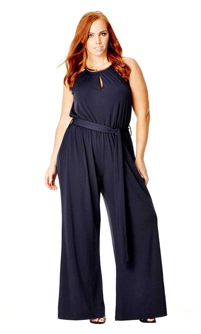 """Enjoy high fashion distinction this season with our Cleo Jumpsuit. Showcasing a striking gold-toned neck plate, this jumpsuit features a halter neckline, keyhole detail on bodice, elasticised empire waist with self-tie belt and a flowing wide leg silhouette.Size & Fit: Model wears a size XS & is 173cm in height. Bodice Length  39.5cm, 15.6"""". Inner leg measurement  77.4cm, 30.5""""Fabrication: OUTER: 95% POLYESTER 5% ELASTANELINING: 100% POLYESTERCare Instructions Wash separately before use…"""