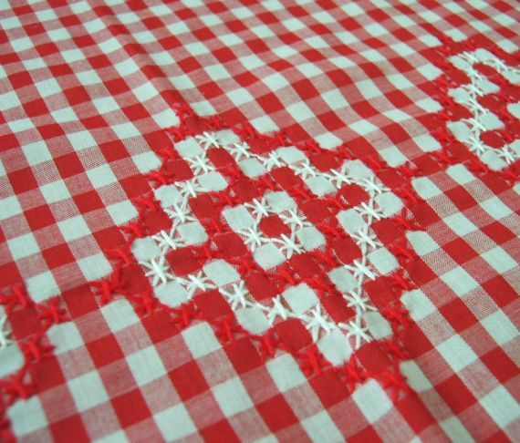 Vintage Red and White Gingham Chicken Scratch by MissIvyVintage, $14.99