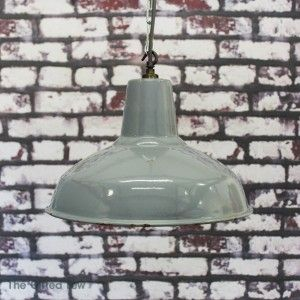 1950s Medium Grey Benjamin Enamel Pendant Light | thegiftedfew.com | Original | Get The Look | Warehouse Home Design Magazine