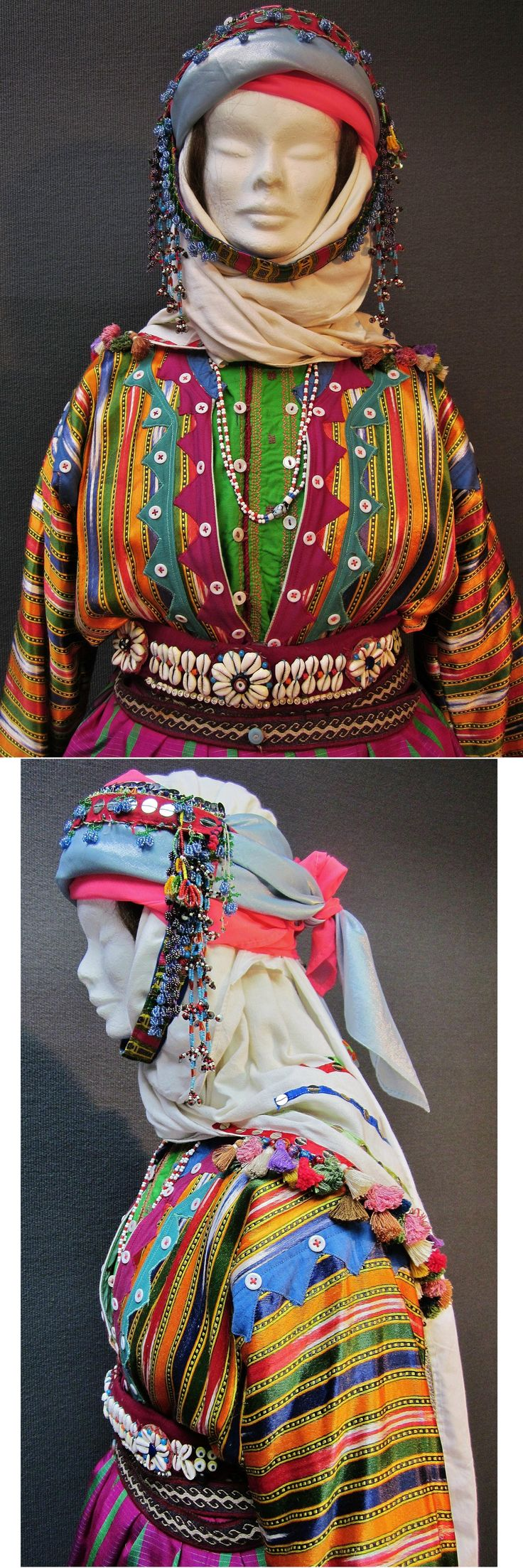 Close-ups of a traditional festive costume of the Üsküdarlı Tahtacı, from the Bergama region.  Clothing style: ca. 1970. The Tahtacı are Alevi Türkmen. This costume is similar to those of nearby Kozan Yaylası, but it is simpler, and with beadwork ornaments instead of silver jewelry. (Kavak Costume Collection - Antwerpen/Belgium).