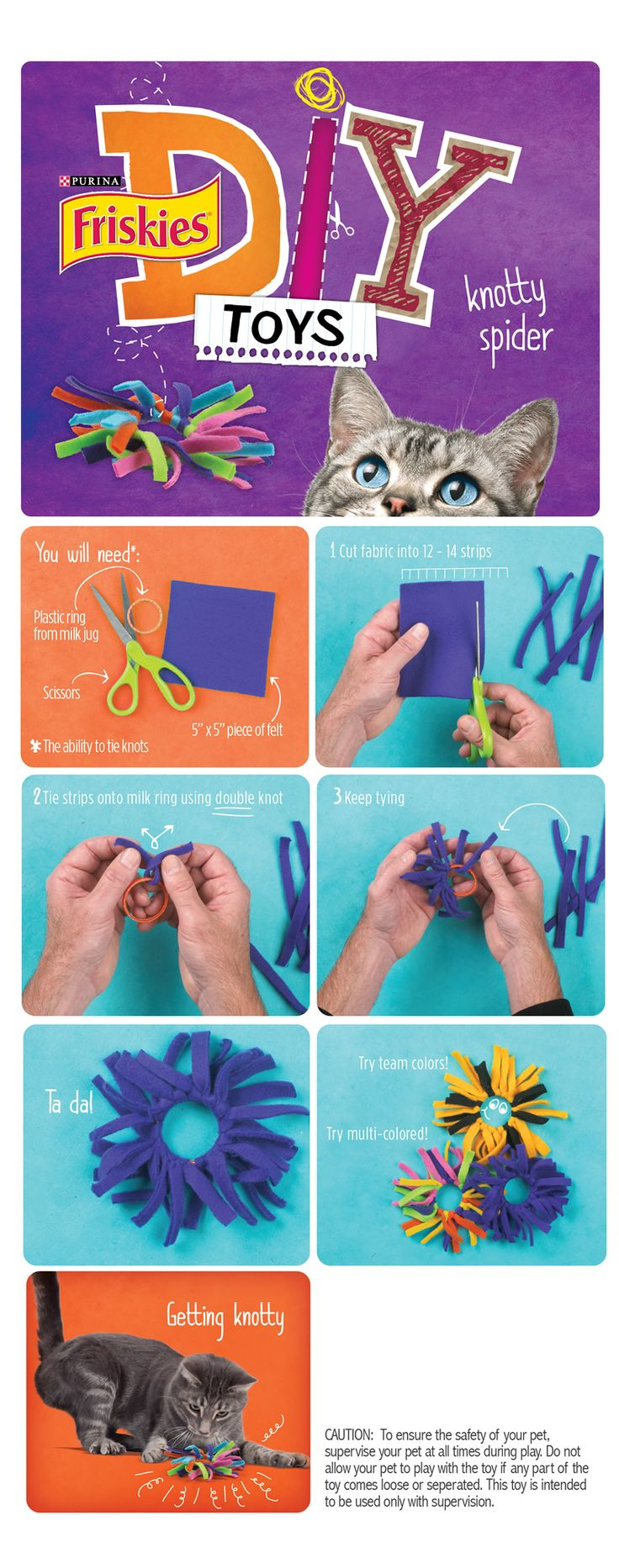 "Friskies® DIY Homemade Cat Toys: ""Knotty Spider"" awesome toys for kitty. My son and I have three of these toys already."