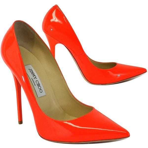 Pre-owned Jimmy Choo Neon Orange Patent Leather Pumps ($229) ❤ liked on Polyvore featuring shoes, pumps, heels, orange pumps, high heeled footwear, neon pumps, high heel pumps and neon orange shoes