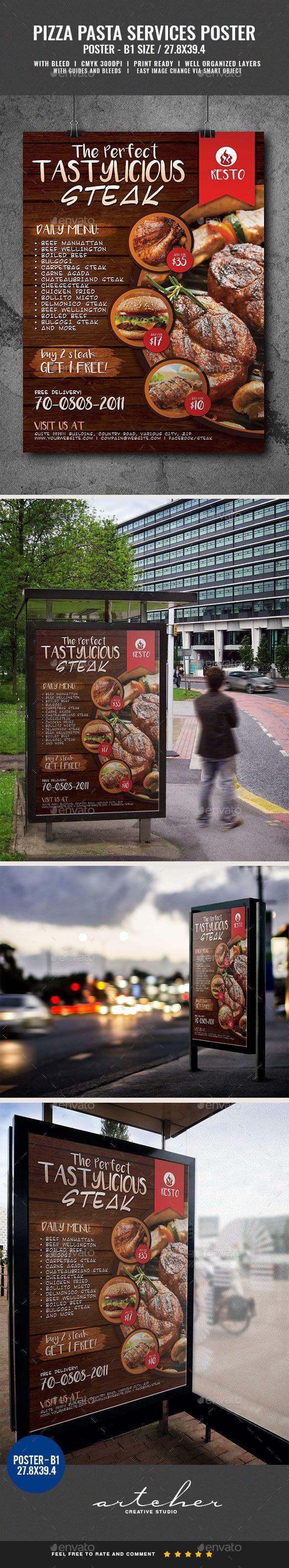#Restaurant Fast #Food Steak Poster - #Signage Print Templates Download here: https://graphicriver.net/item/restaurant-fast-food-steak-poster/20051167?ref=alena994
