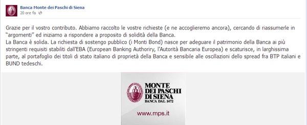 Monte Paschi di Siena: la banca inizia la campagna verità su Facebook