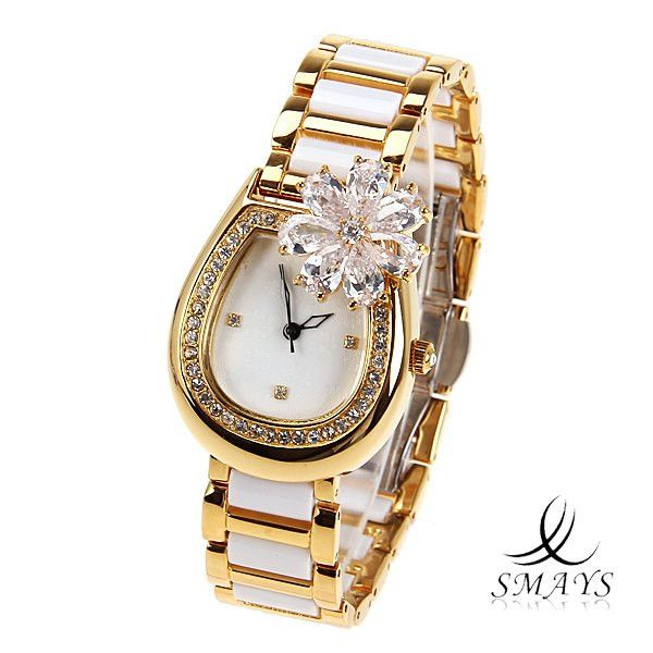 Fashion Women's Watch Japan Movt Quartz Dial White and Golden Watchband