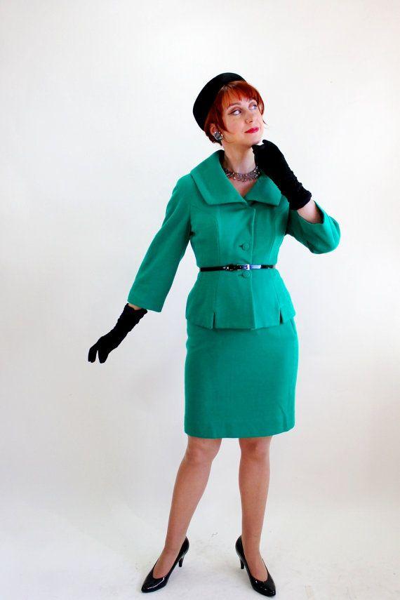 1950s Jade Green Wool Knit Lilli Ann Suit Fashion
