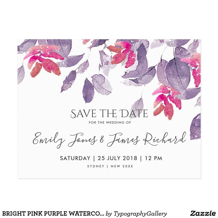 BRIGHT PINK PURPLE WATERCOLOR FLORAL SAVE THE DATE POSTCARD