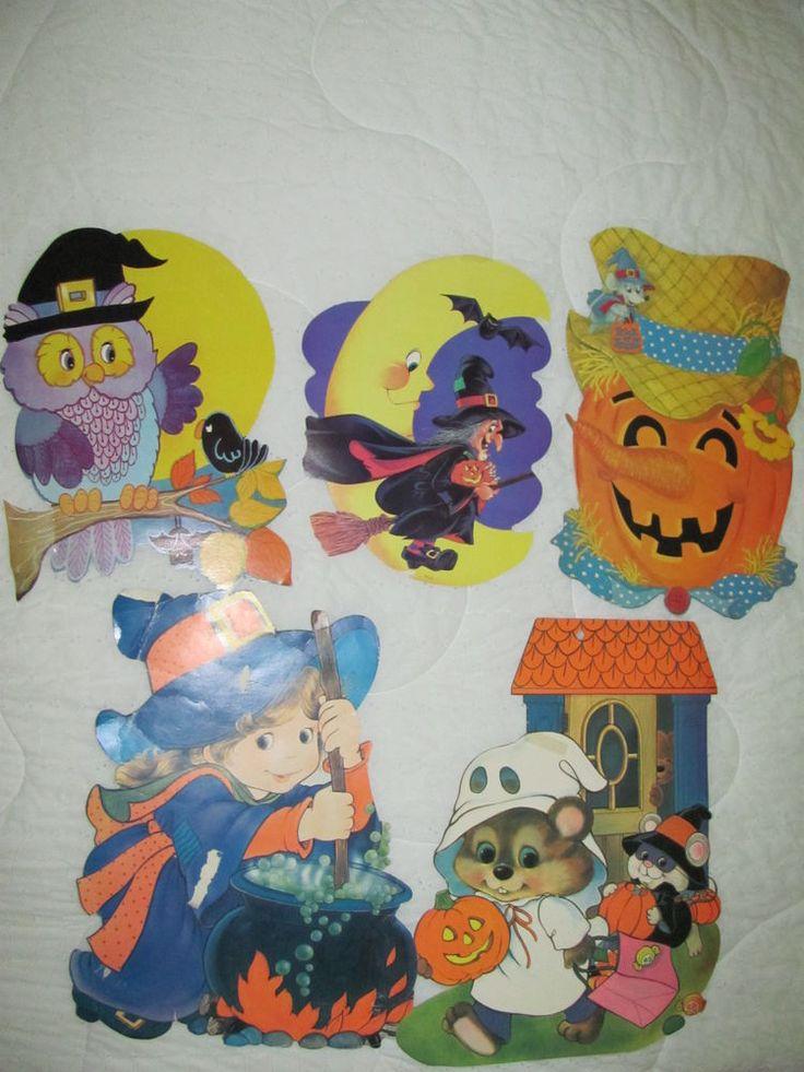 Vintage lot 5 cardboard die-cut eureka halloween wall ...