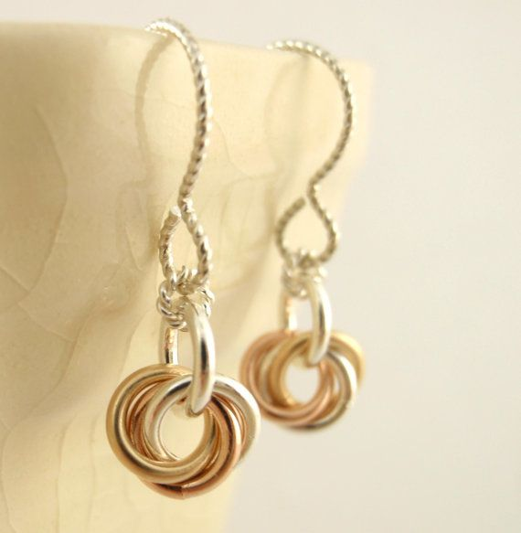 """Sterling Silver, 14kt Rose and Yellow Gold Filled """"Little Cutie"""" Earrings by unkamengifts, $30.00"""