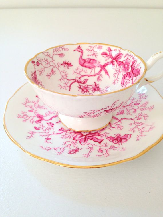 Tea Set, Antique Coalport English Bone China Teacup and Saucer Cairo Pattern Cottage Style Tableware