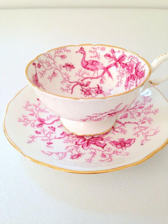 Tea Set, Antique Coalport English Bone China Teacup and Saucer Cairo Pattern Cottage Style Tableware