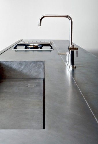 Minimal kitchen, stainless steel