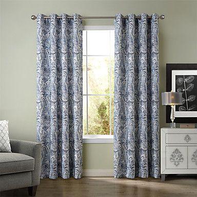 Chadmade SOFITEL Traditional Classic Paisley Faux Linen Print  Curtain Panel Drape - Black Blue – AUD $ 115.93