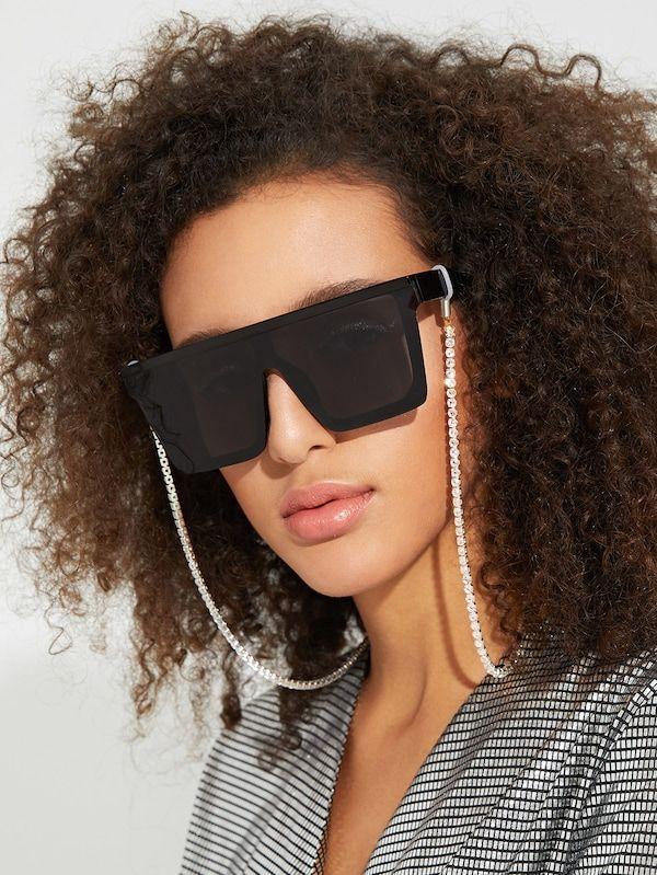 d6bf3e155bf6 Rhinestone Glasses Chain -SHEIN(SHEINSIDE)
