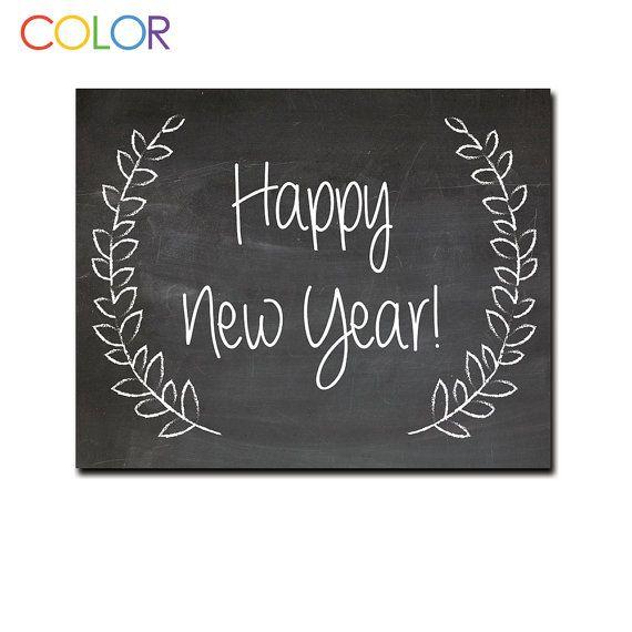 Happy New Year Chalkboard Print